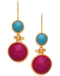 Ottoman Hands - Turquoise & Hot Pink Agate Two Stone Earrings - Lyst
