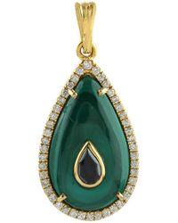 Artisan Pendant Malachite Diamond 18k Yellow Gold Jewelry - Metallic