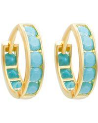 Talia Naomi - Turquoise Pave Eternity Hoops Sleeper Earrings - Lyst
