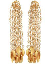 Carousel Jewels - Pearl & Gold Drops Waterfall Earrings - Lyst
