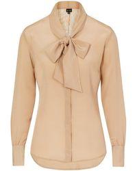 Sophie Cameron Davies Beige Silk Bow Blouse - Multicolour