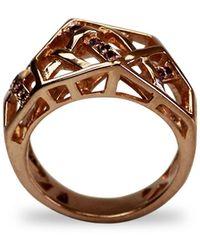 Bellus Domina - Amethyst Rose Gold Hexagon Ring - Lyst