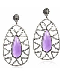 Meghna Jewels - Bora Bora Earrings Amethyst & Diamonds - Lyst