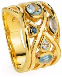 Neola - Liana Gold Ring Aquamarine Blue Topaz And Lapis Lazuli - Lyst