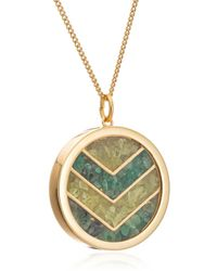 Rachel Jackson London - Emerald Chevron Amulet In Gold Short - Lyst