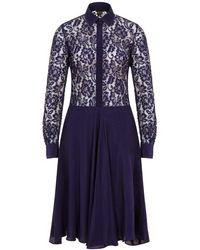 Sophie Cameron Davies Navy Blue Silk Midi Lace Dress