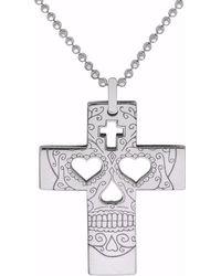 CarterGore - Silver Sugar Skull Cross Pendant Necklace - Lyst