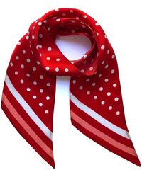 INGMARSON Polka Dot Silk Neck Scarf Flame Scarlet - Red
