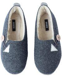 ONAIE Women's Dark Grey Felt Wool Slippers
