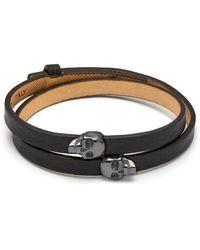 Northskull Atticus Skull Double Wrap Bracelet In Black & Gunmetal