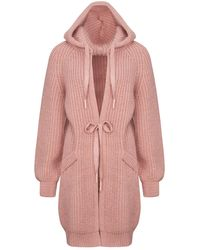 Nocturne Hooded Knit Cardigan-powder Pink