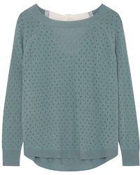 ILLE DE COCOS - Fantasy Bow Sweater Bay Green & Chalk - Lyst
