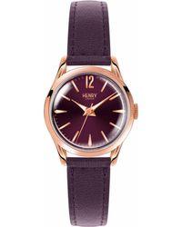 Henry London - Hampstead Purple Dial Leather Watch - Lyst