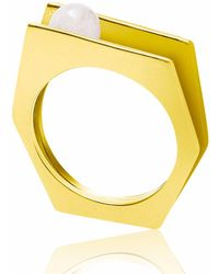 Neola   Alvaro Gold Cocktail Ring With White Pearl   Lyst