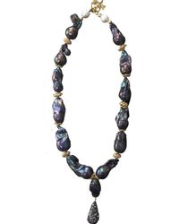 Farra Nugget Purple Baroque Pearls & Amethyst With Pendant Necklace