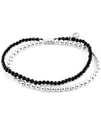 Anchor & Crew Black Spinel Harmony Silver & Stone Bracelet - Metallic