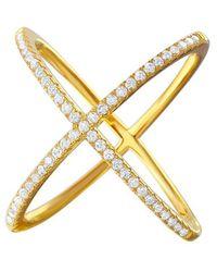 Cosanuova Sterling Silver X Crisscross Cz Ring In Gold - Metallic