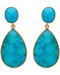 Carousel Jewels Turquoise Double Drop Earrings - Blue