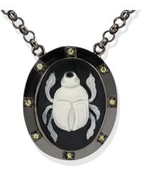 Vintouch Italy Scarab Cameo Necklace - Black