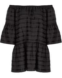 SELEZZA LONDON Shoulder Tire Viscose Mini Dress - Black