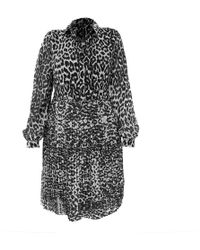 LEFON New York Leopard Print Collar Neck Lefon Dress - Multicolor
