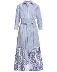 Rumour London Santorini Belted Striped Shirt Dress With Embroidered Panel - Blue
