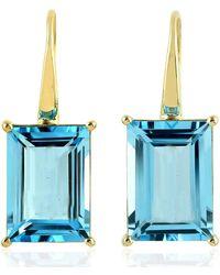 Artisan Emerald Cut Topaz Gemstone Hook Earrings 14k Yellow Gold - Metallic