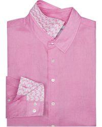 Pink House Mustique Mens Linen Shirt - Pink