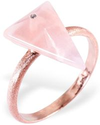 Ona Chan Jewelry - Triangle Ring With Rose Quartz & Swarovski - Lyst