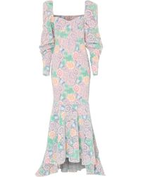 True Decadence Pastel Floral Lace Floor Length Gown - Multicolour