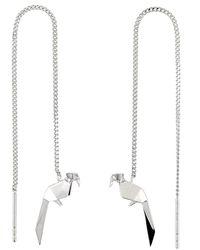 Origami Jewellery - Parrot Silver Chain Earrings - Lyst