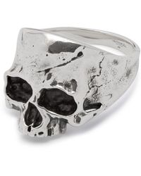 Northskull Disfigured Medius Skull Ring In Silver - Metallic