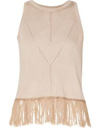 Paisie Knitted Top With Ribbed Details & Fringe In Beige - Natural