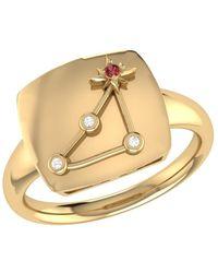 LMJ Capricorn Goat Constellation Signet Ring In 14 Kt Yellow Gold Vermeil - Metallic