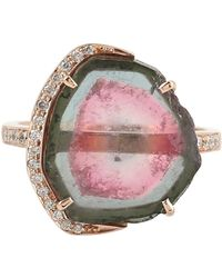 Artisan 18k Rose Gold Ring In Tourmaline Melon Stone With Pave Diamond Accents - Pink