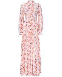 True Decadence Peach Orange Floral Long Sleeved Maxi Dress - White