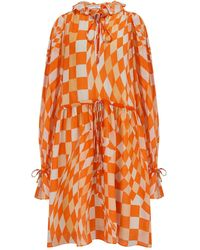 Klements Maudie Silk Chiffon Dress In Labyrnth Print - Orange