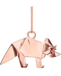 Origami Jewellery - Triceratop Necklace Rose Gold - Lyst