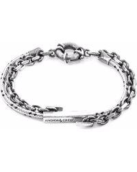 Anchor & Crew - Grey Dash Belfast Silver & Rope Bracelet - Lyst