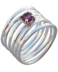 Elena Jewelry Concepts Silver Wave Ring With Pink Tourmaline - Multicolour