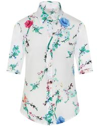 Sophie Cameron Davies White Cherry Blossom Silk Shirt