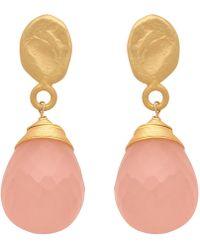 Carousel Jewels - Textured Gold Nugget & Rose Quartz Drop Earrings - Lyst