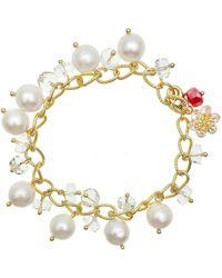 Farra - Freshwater Pearls & Crystal & Snowflake Charm Bracelet - Lyst