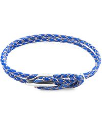 Anchor & Crew Royal Blue Padstow Silver & Braided Leather Bracelet