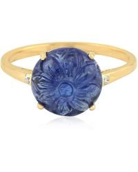 Artisan - 18k Gold Ring With Carved Tanzanite & Diamonds - Lyst