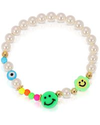 Essentials Jewels Smiley Face Pearl Bracelet - Multicolour