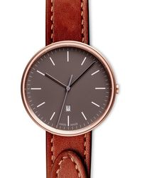 Uniform Wares Women's M38 Three-hand Date Watch In Pvd Rose Gold With Tapered Tan Nappa Leather Strap - Metallic