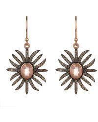 LÁTELITA London - Diamond Sunburst Earring Rose Quartz - Lyst