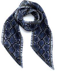 INGMARSON Snakeskin Silk Neck Scarf Blue