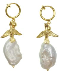 Farra Freshwater Pearl With Bird Charm Clip-on Hoop Earrings - White